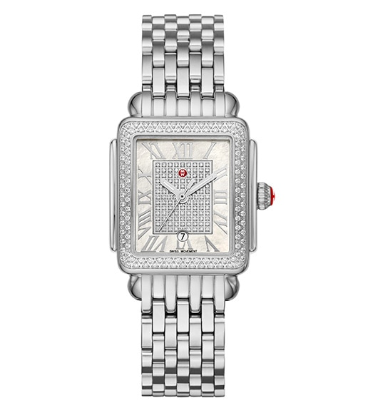 Deco Madison Mid watch in stainless featuring a diamond dial,  Roman numeral indexes and stainless seven-link bracelet.