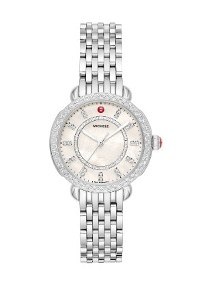 Sidney Classic watch featuring round mother-of-pearl dial, diamond-covered bezel and stainless seven-link bracelet.