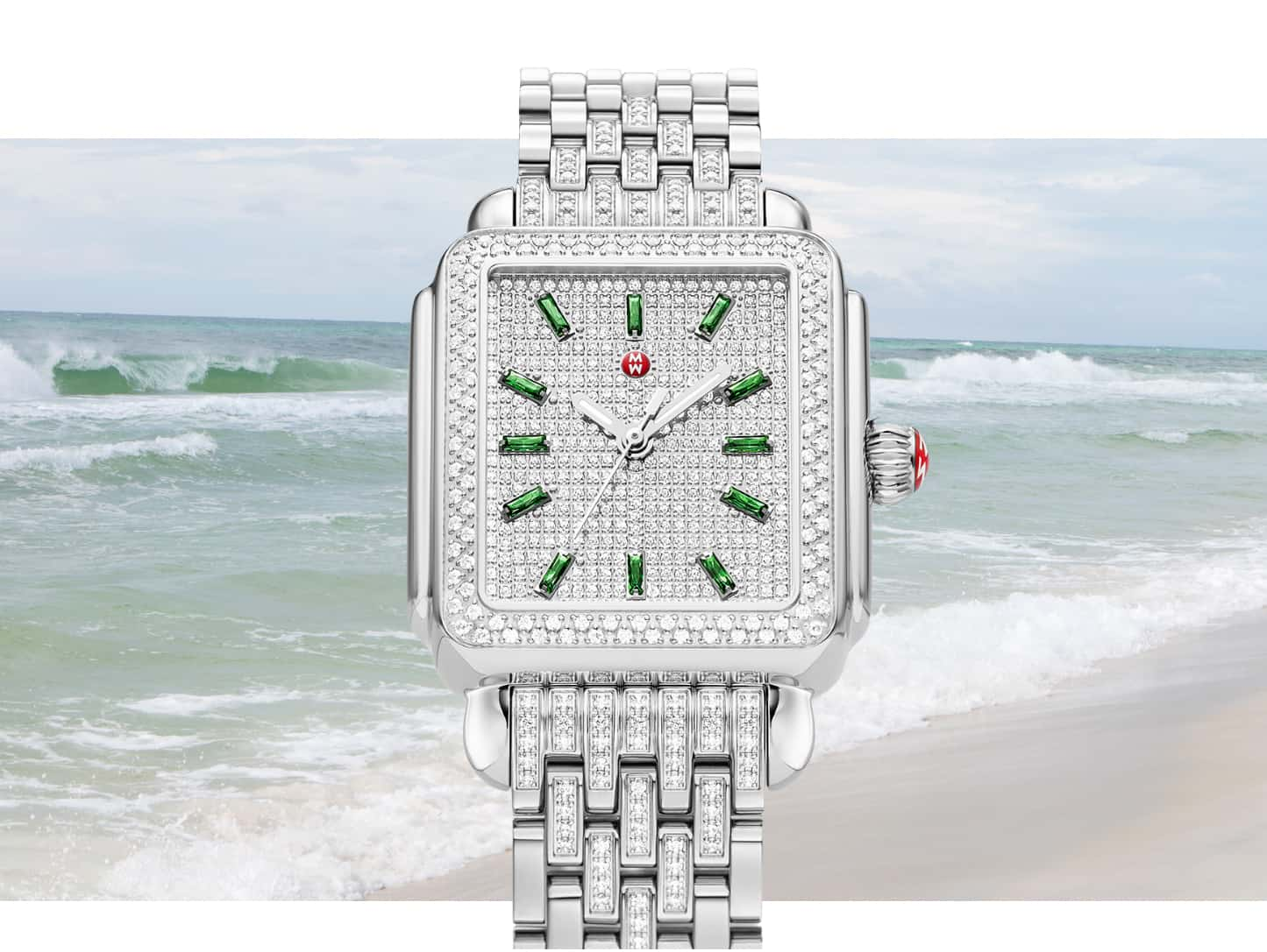 Limited-edition Deco Emerald watch featuring a full diamond dial, emerald indexes and diamond-detailed seven-link bracelet.