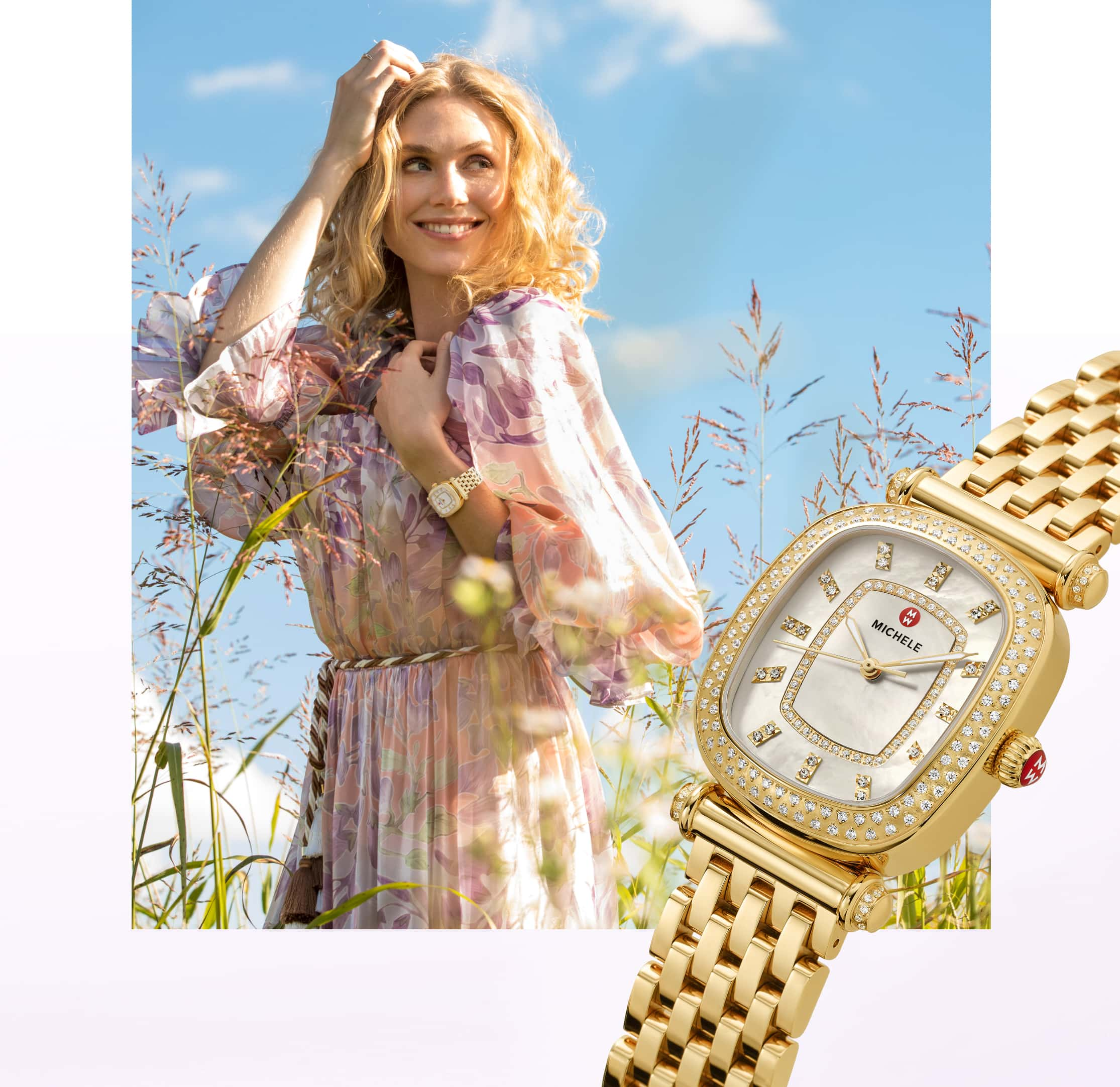 Fashionable woman in field of flowers wearing 18K gold-tone Caber Isle watch.