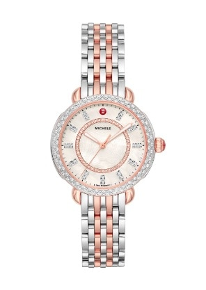 Sidney Classic watch featuring round mother-of-pearl dial, diamond-covered bezel and two-tone 18k pink gold and stainless seven-link bracelet.