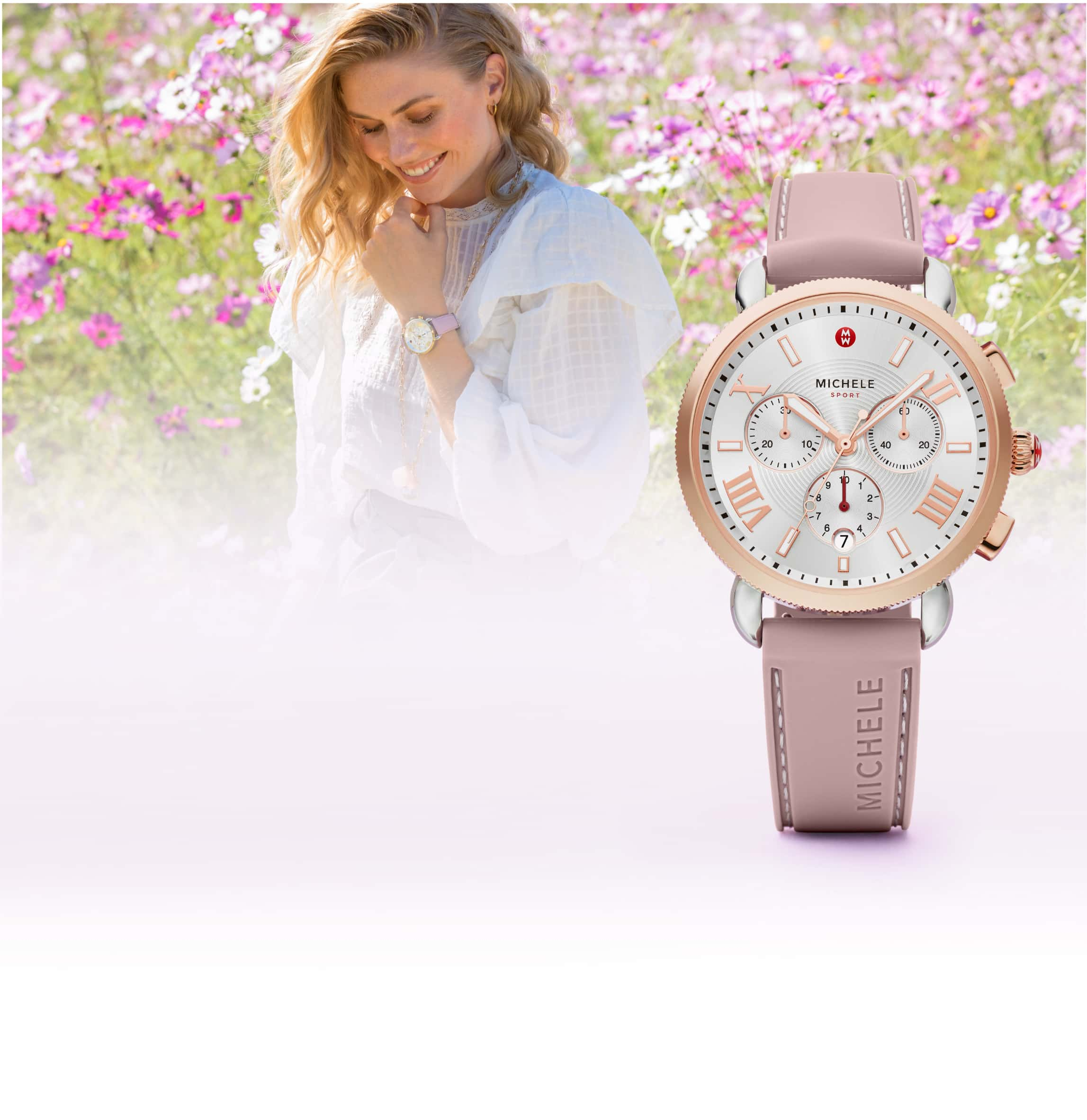 Young woman in a field of flowers wearing casual outfit and Sporty Sport Sail watch in rose.