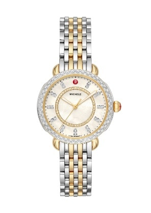 Sidney Classic watch featuring round mother-of-pearl dial, diamond-covered bezel and two-tone 18k gold and stainless seven-link bracelet.