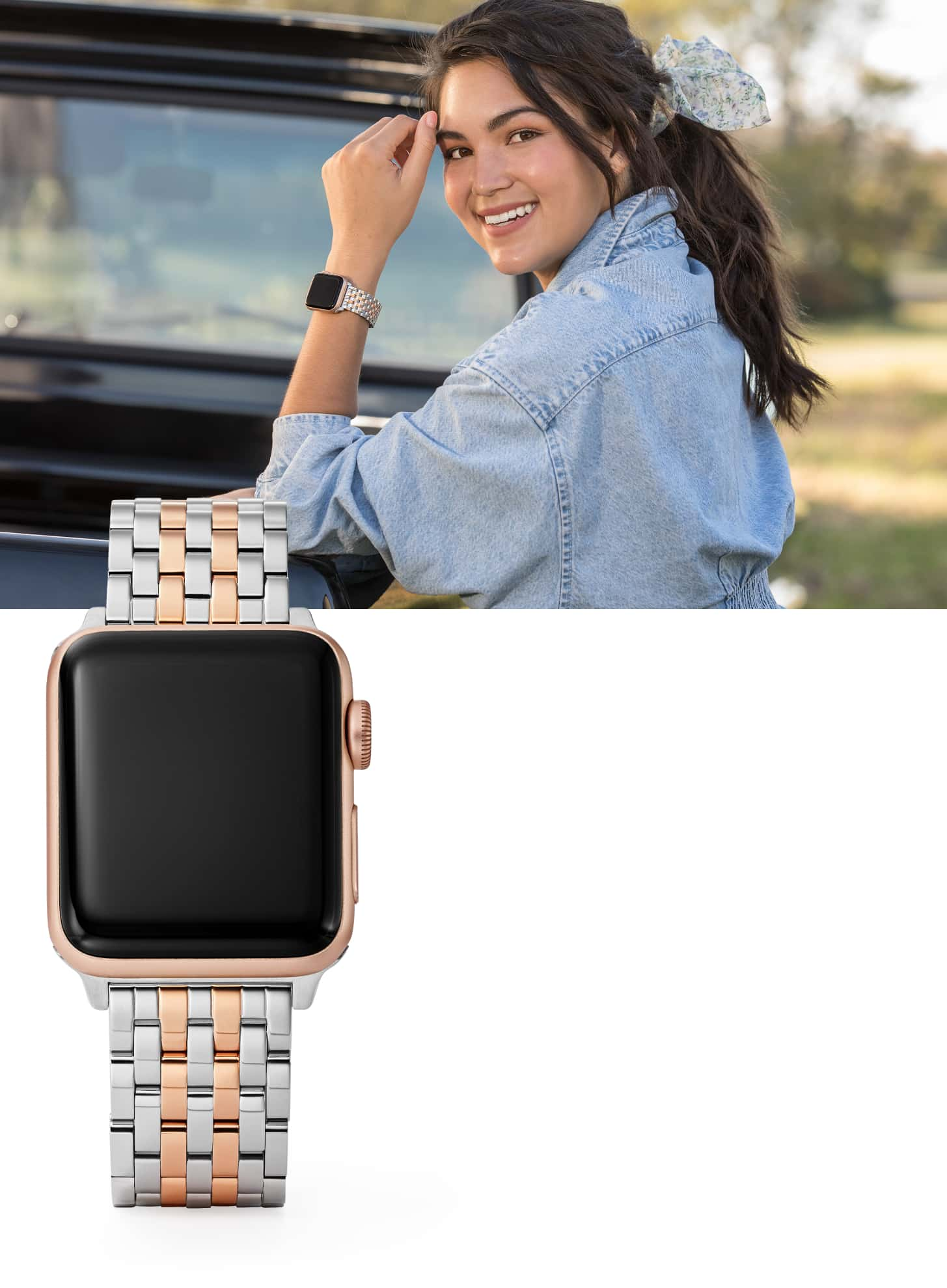 Stylish woman wearing two-tone stainless and 18k gold bracelet band.
