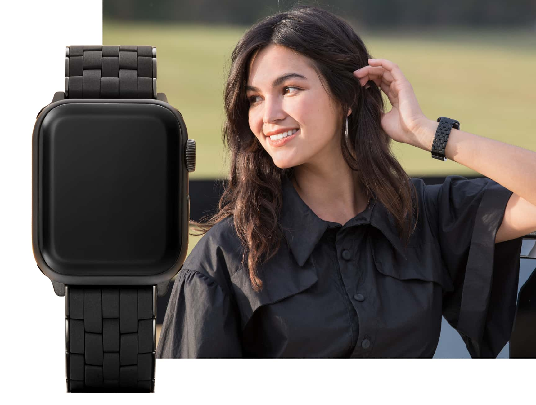 Stylish young woman wearing black silicone band for Apple Watch®