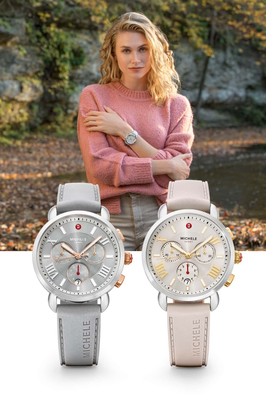 Two Sporty Sport Sail watches in slate with pink gold-tone and wheat with gold-tone.