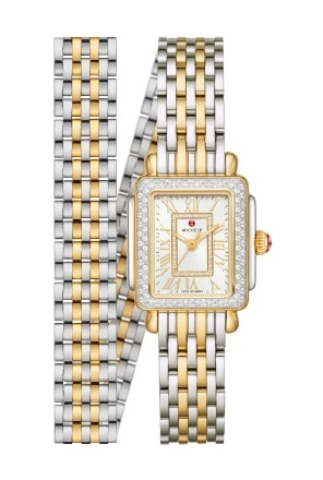 Deco Madison Mini watch in 18k gold and stainless featuring a mother-of-pearl dial with  numeral indexes, diamond-covered bezel and 18k gold and stainless seven-link double-wrap bracelet.