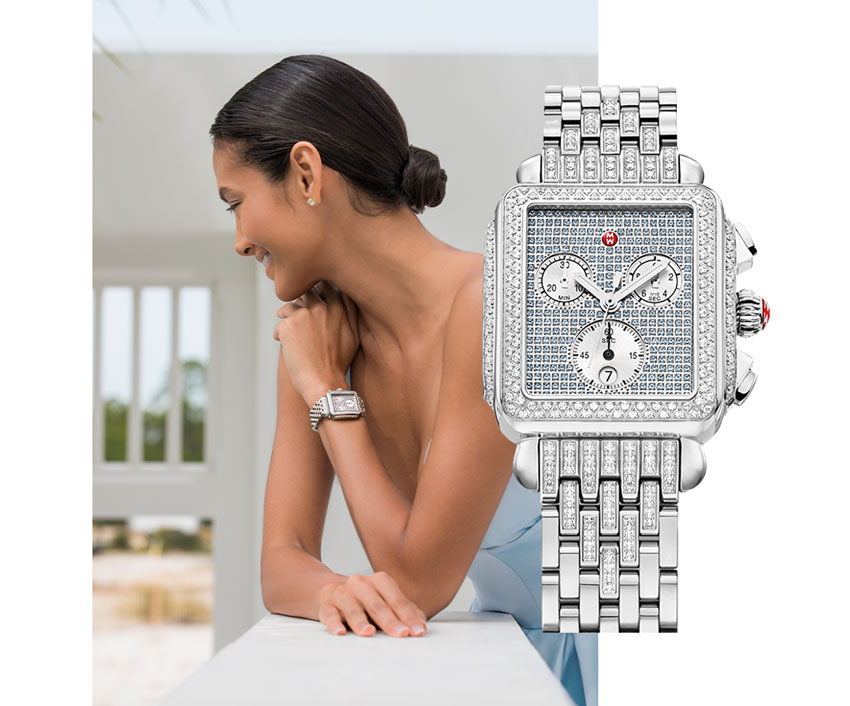 Elegant woman wearing ball gown and limited-edition Deco stainless pavé sapphire & diamond watch featuring a sky blue dial, diamond-covered bezel and bracelet and sapphire-covered dial.