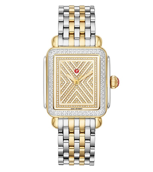 Deco watch featuring a deco-inspired dial with straigh lines, diamonds, 18K gold touches, diamond topring in stainless and two-tone stainless and 18K gold seven-link bracelet.