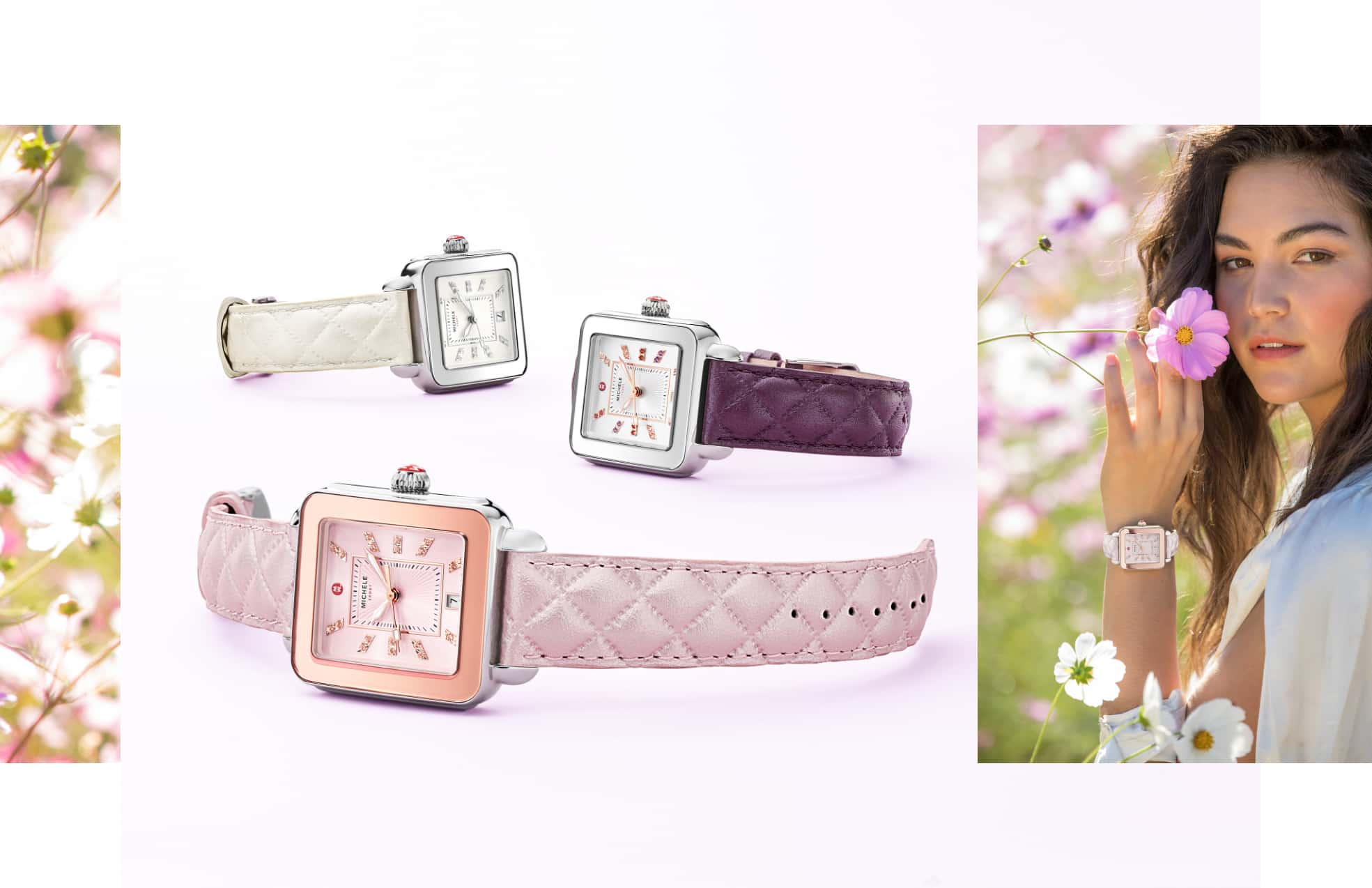 Three Deco Sport countryside watches featuring quilted leather straps in lilac, violet and pearl.