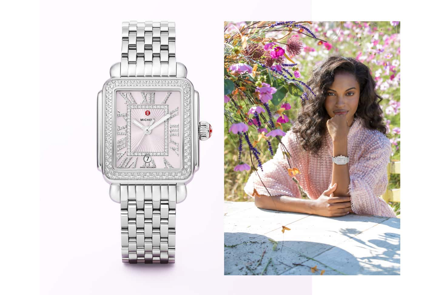 Fashionable woman wearing Deco Madison watch in stainless featuring a lilac dial and diamond-covered Roman numeral indexes.
