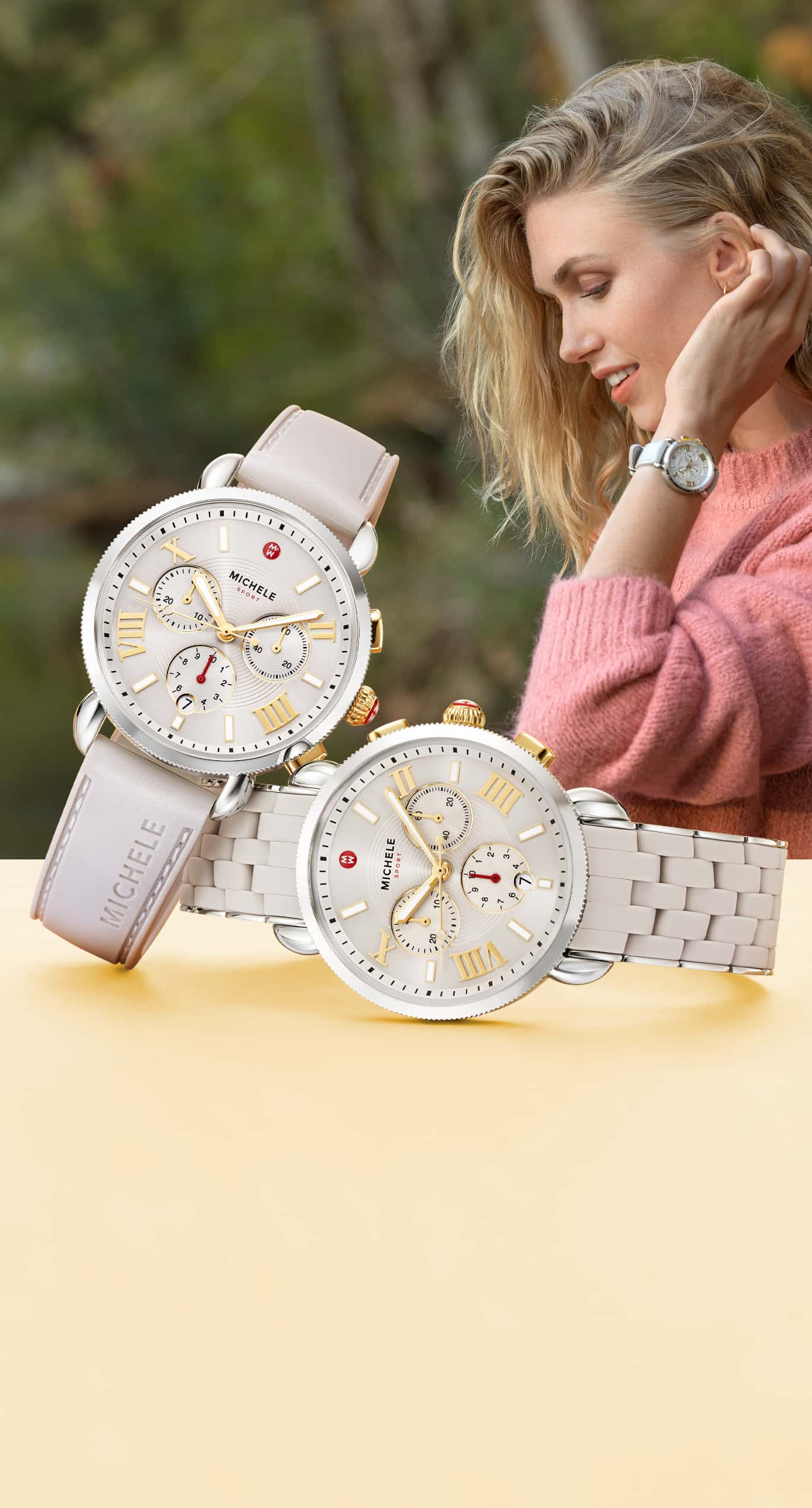 Stylish woman wearing Sporty Sport Sail watch in wheat. Two Sporty Sport Sailwatches in wheat: one with silicone-wrapped braclet and another with matte-shimmer finish.