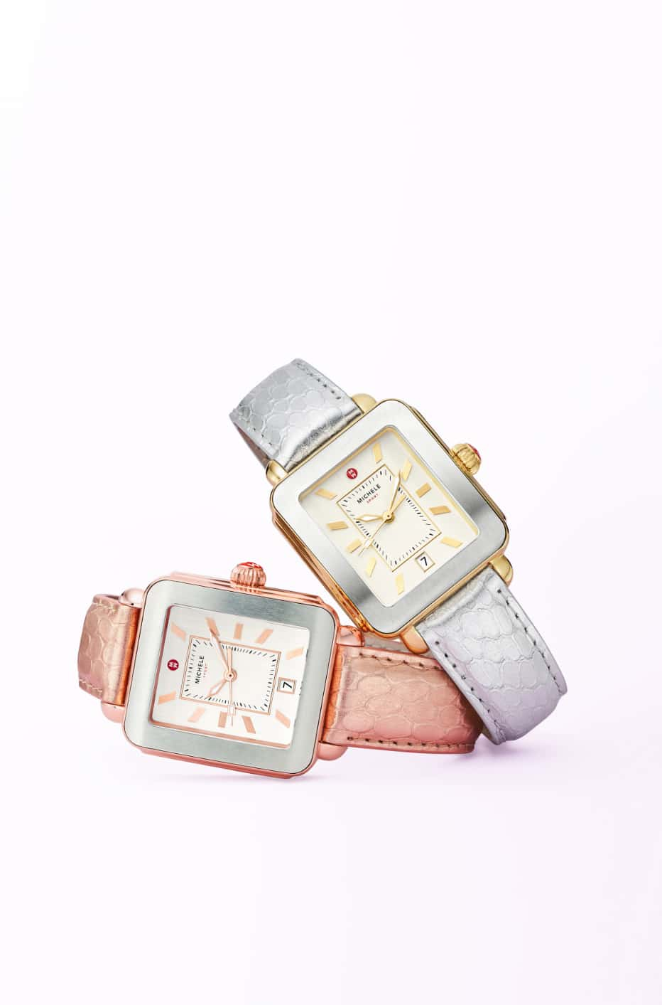 Two Deco Sport Mercurial Metallic watches in rose with pink gold-tone and silver-tone with gold-tone.