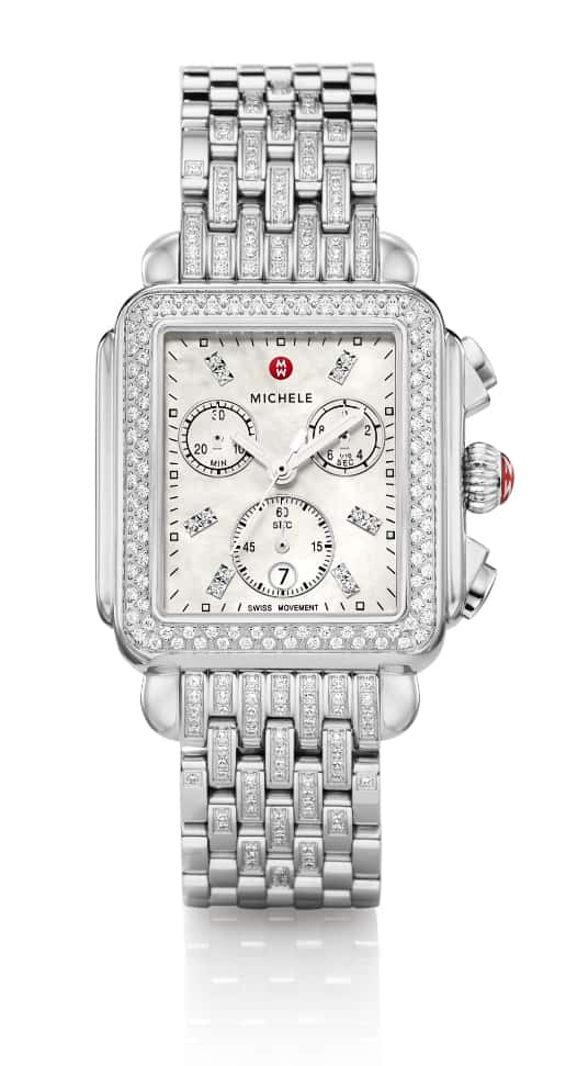 Deco watch with MW-pattern diamond bracelet.