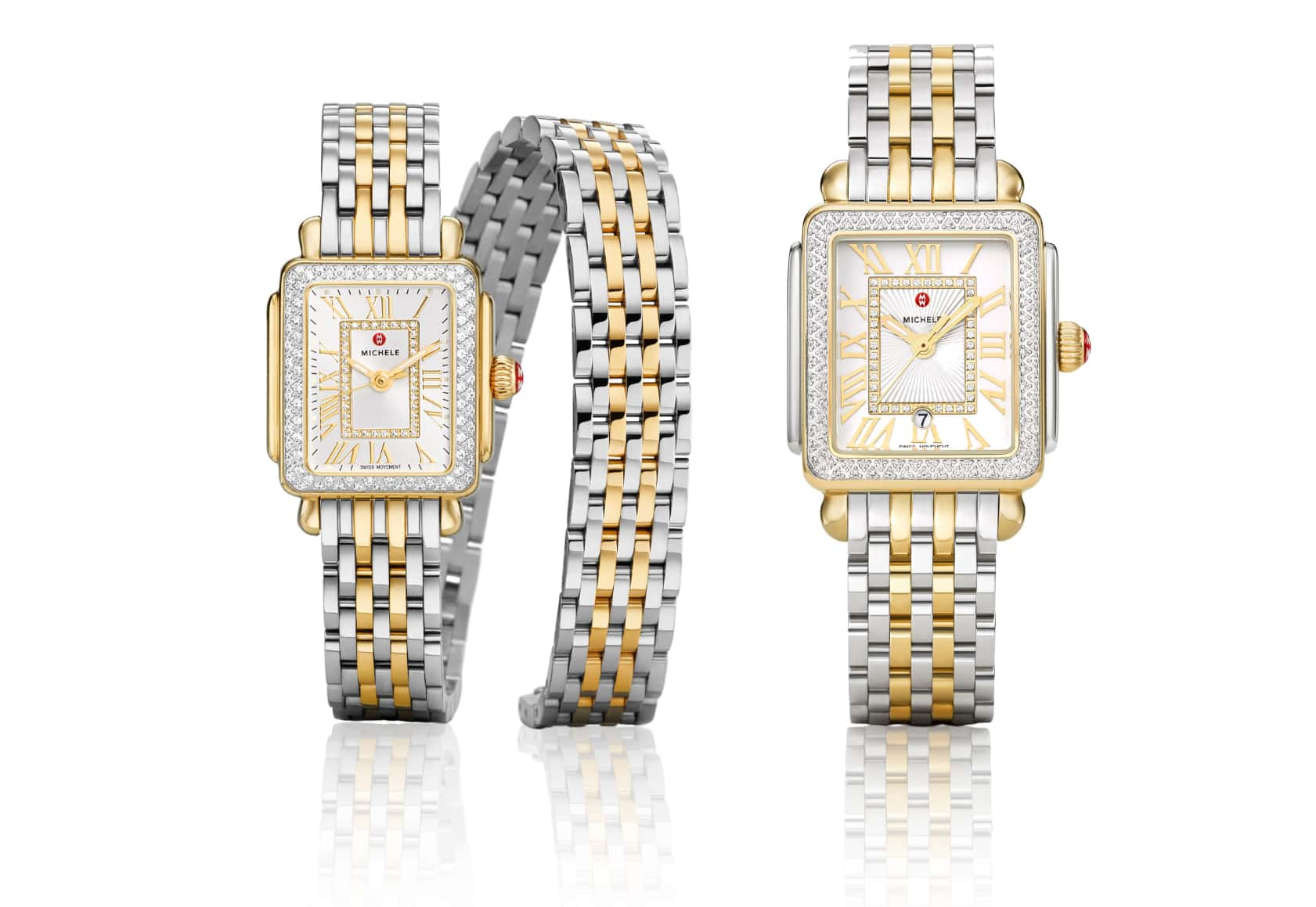 Deco Madison and Deco Madison Mini double-wrap watches in two-tone stainless and 18K gold.