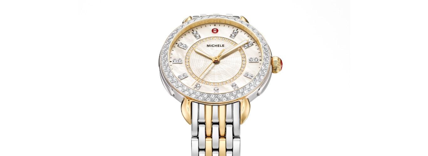 14mm Sidney Classic watch featuring mother-of-pearl dial with diamond innerring, double-diamond indexes, diamond-covered topring and two-tone seven-link bracelet in stainless and 18k gold.