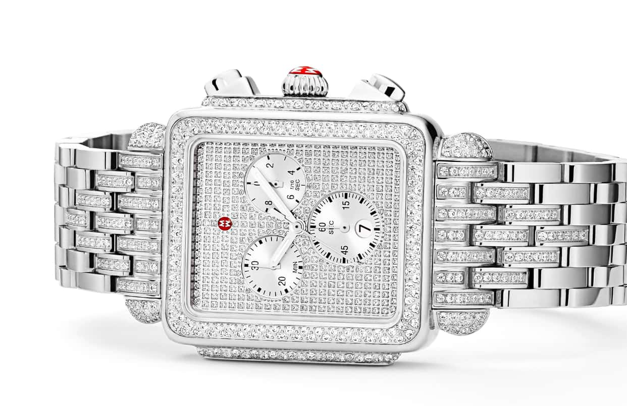 Deco XL watch in stainless featuring 728 diamonds on the dial, bezel, lugs and bracelet.