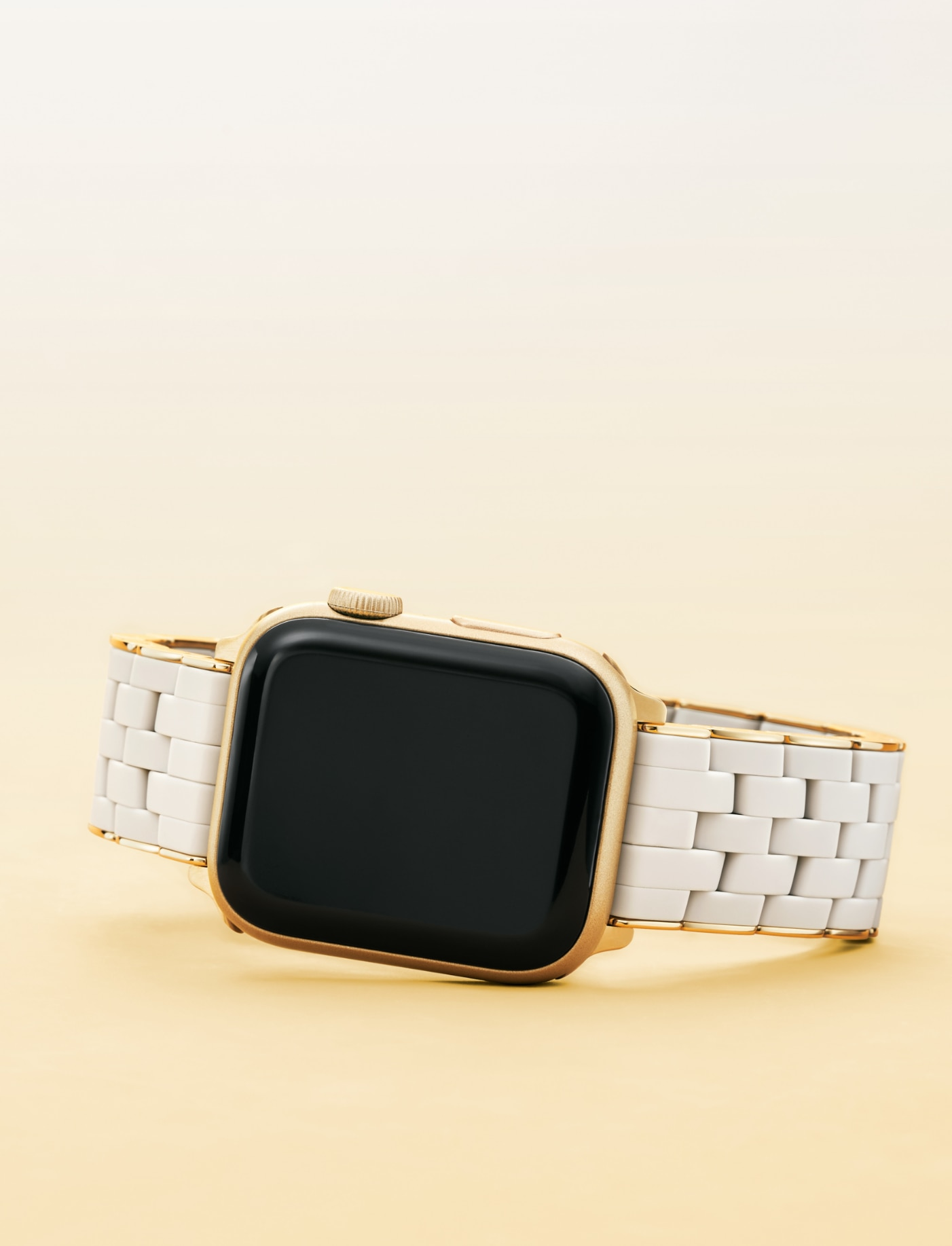 Gold and wheat five-link silicone band for Apple Watch®