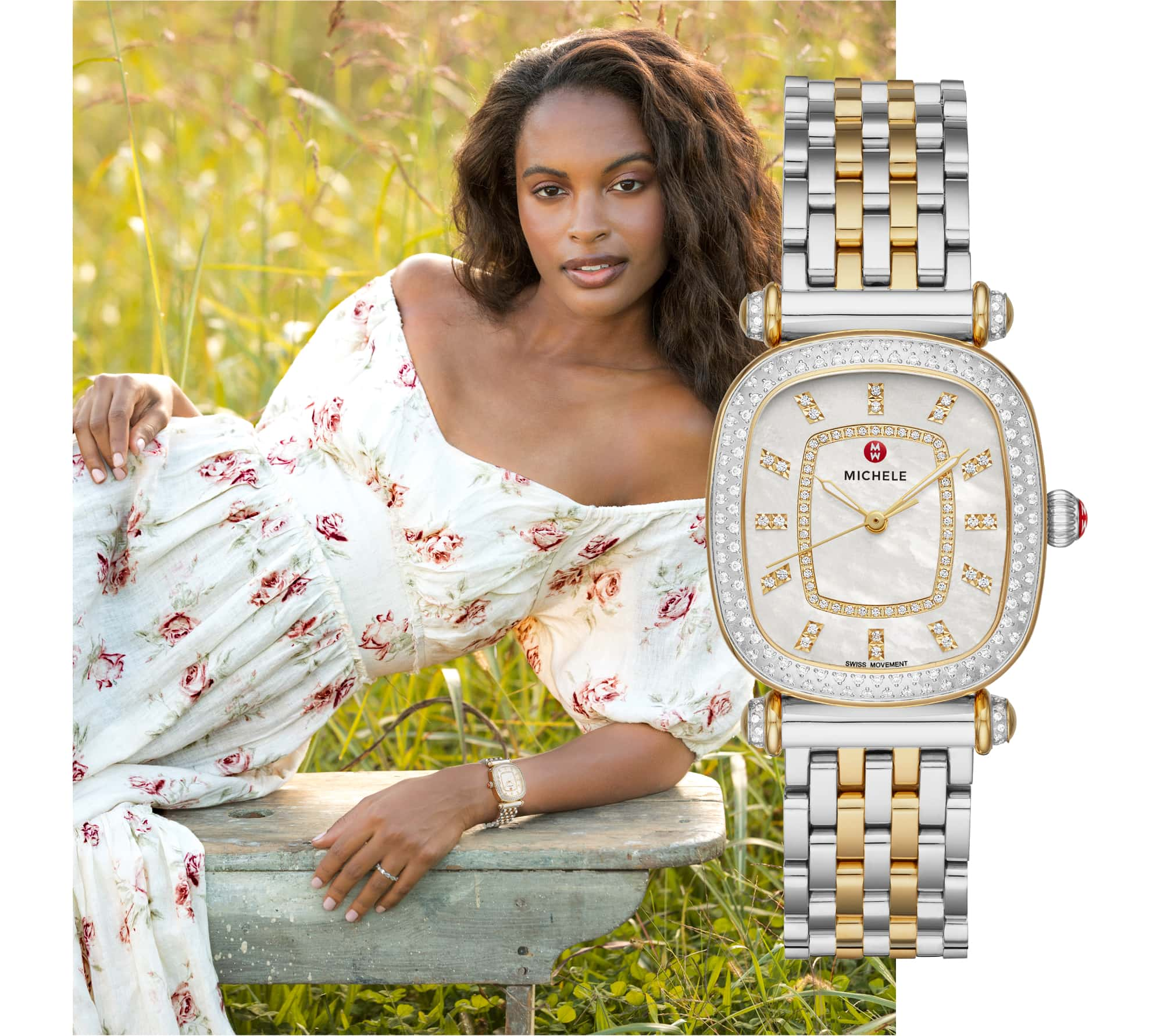 Stylish woman in field of flowers wearing two-tone stainless and 18K gold Caber Isle watch.