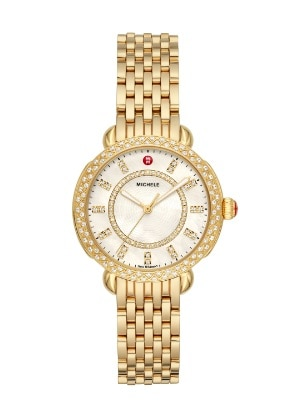 Sidney Classic watch featuring round mother-of-pearl dial, diamond-covered bezel and 18k gold seven-link bracelet.