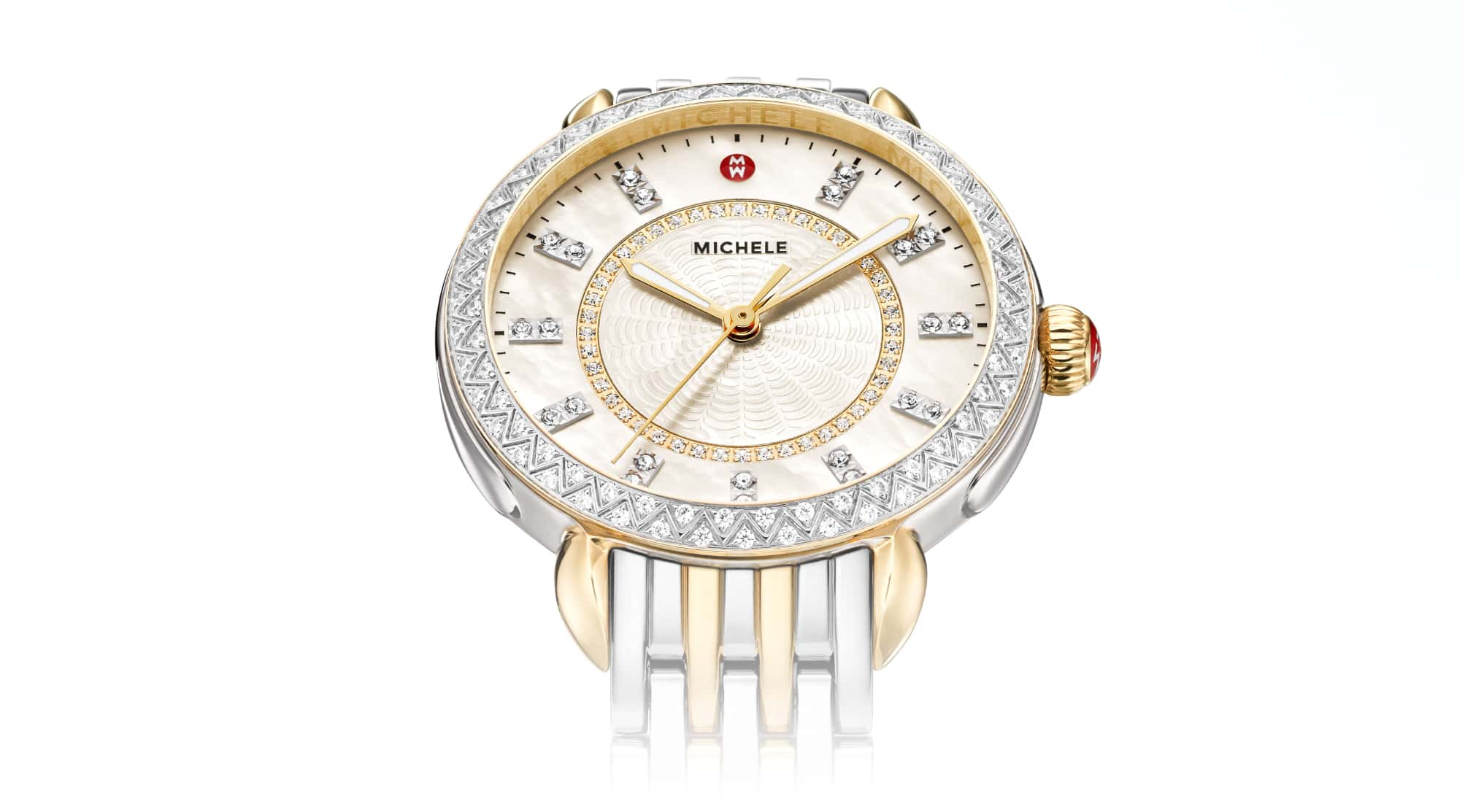 Sidney watch  in two-tone stainless and 18K gold and diamond-covered bezel.