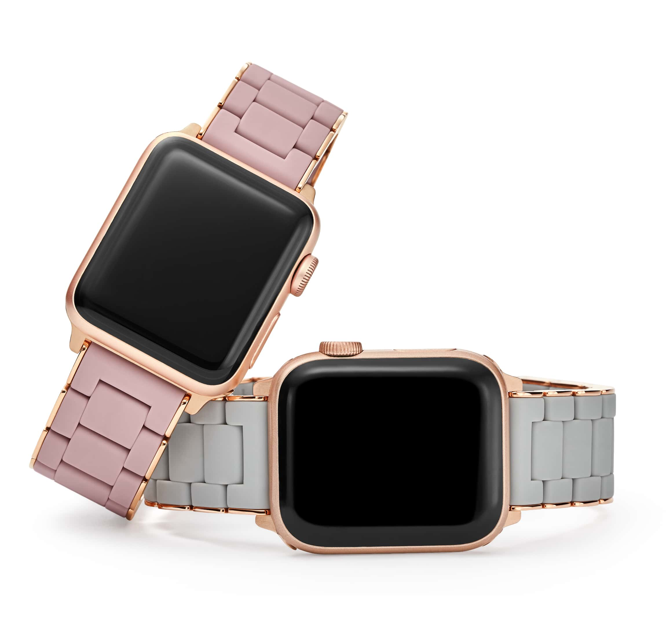 Two seven-link bracelet bands for apple watch® in stainless with 18K yellow gold and stainless with 18K pink gold.