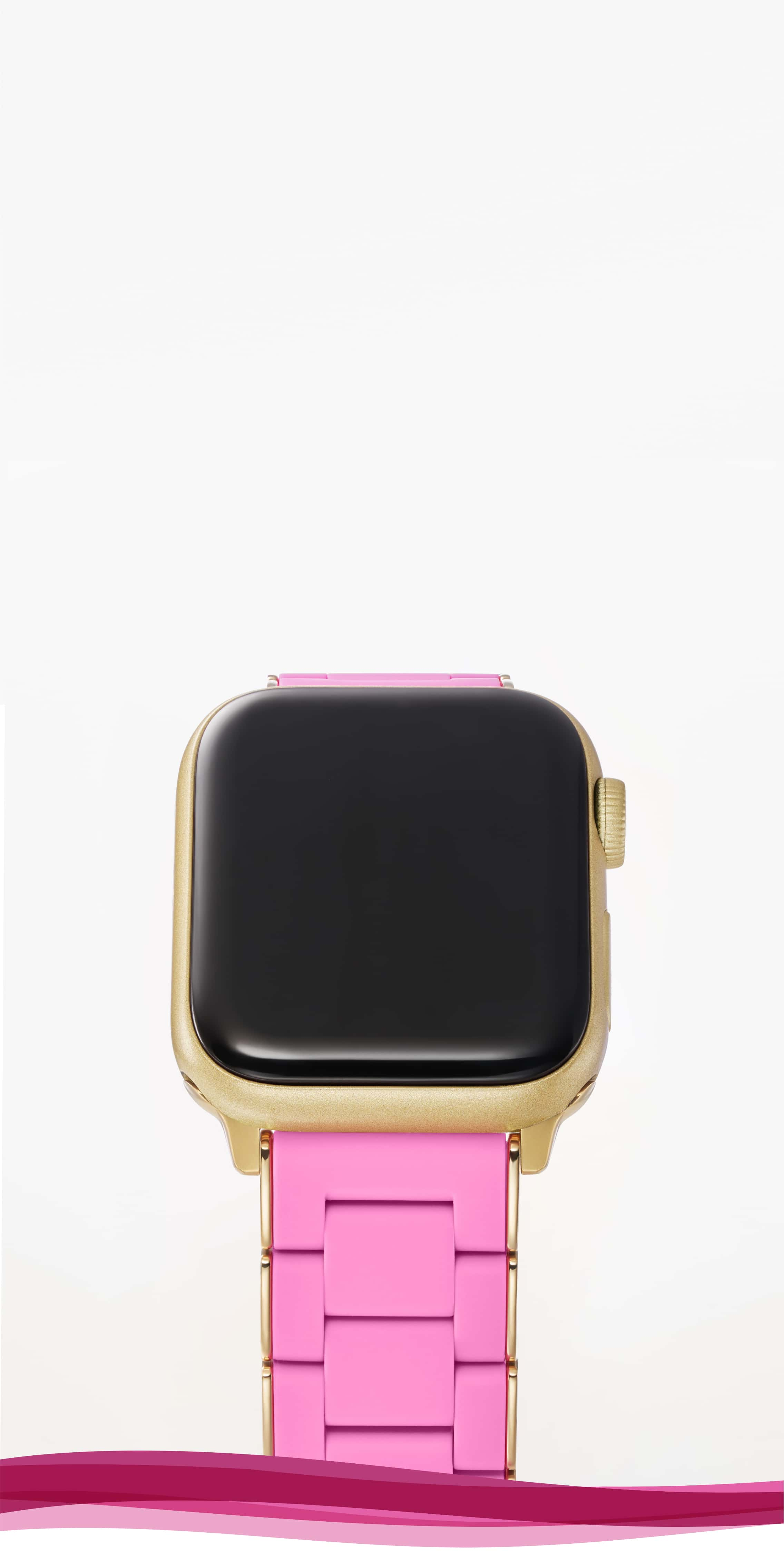Silicone-wrapped band for Apple Watch® in Susan G. Komen's® signature pink colorway with gold-tone.