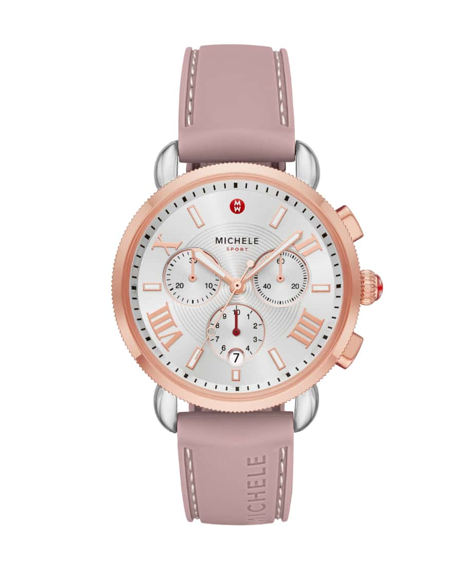 Deco Sport countryside collection watch featuring sheen-finished quilted leather strap in rose.