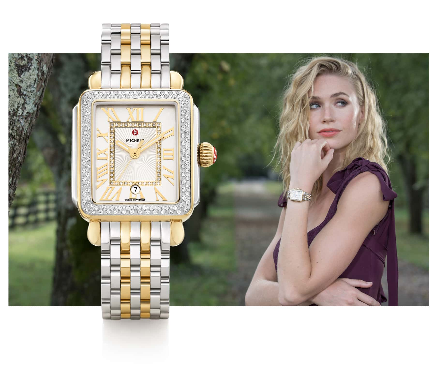 Fashionable woman wearing Deco Madison watch in stainless and 18K gold.