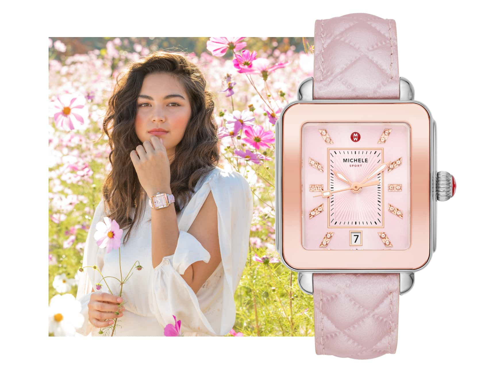 Youthful woman wearing Deco Sport watch with a lilac sheen-finished quilted-leather strap and sparkling topaz indexes.