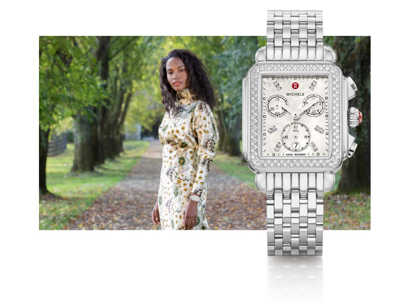 Chic woman in floral-print dress wearing Deco watch in stainless.
