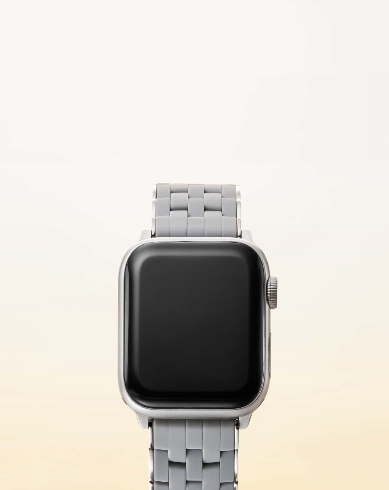 Stainless and slate five-link silicone band for Apple Watch®