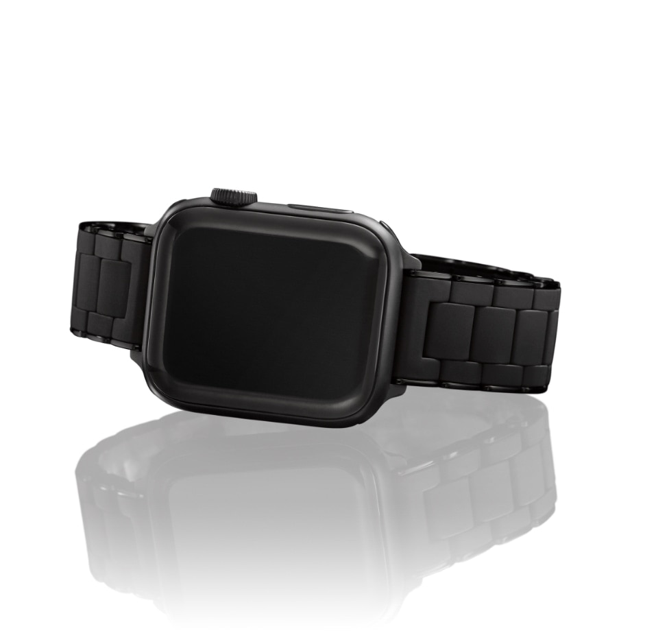 Black silicone-wrapped bands for Apple Watch®.