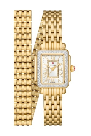Deco Madison Mini watch in 18k gold featuring a mother-of-pearl dial with gold Roman numeral indexes, diamond-covered bezel and 18k gold seven-link double-wrap bracelet.