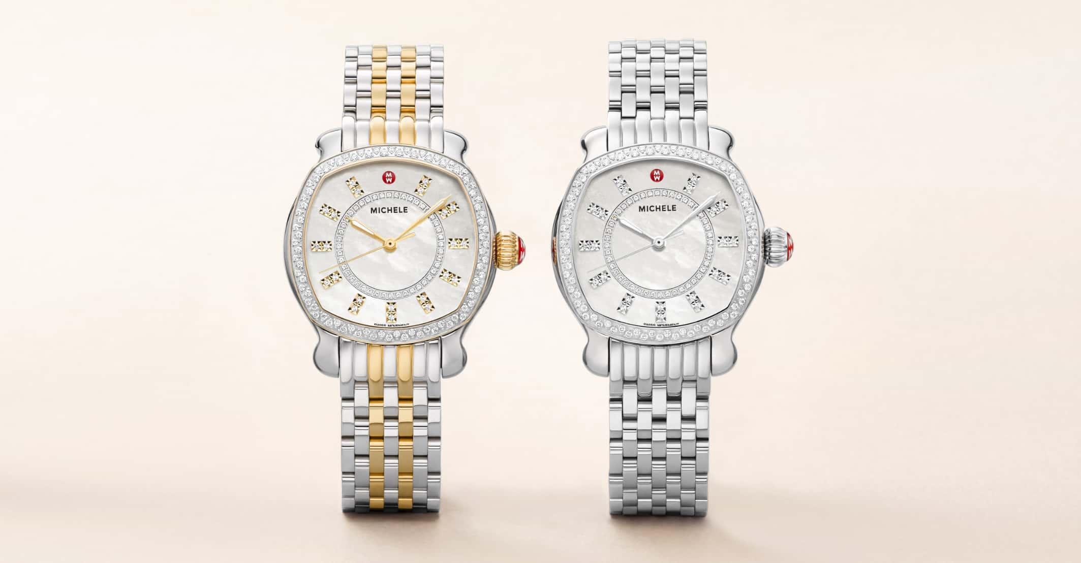 Two special-edition Lilou watch es featuring double-diamond indexes, diamond-covered topring in stainless and two-tone stainless with 18k gold.