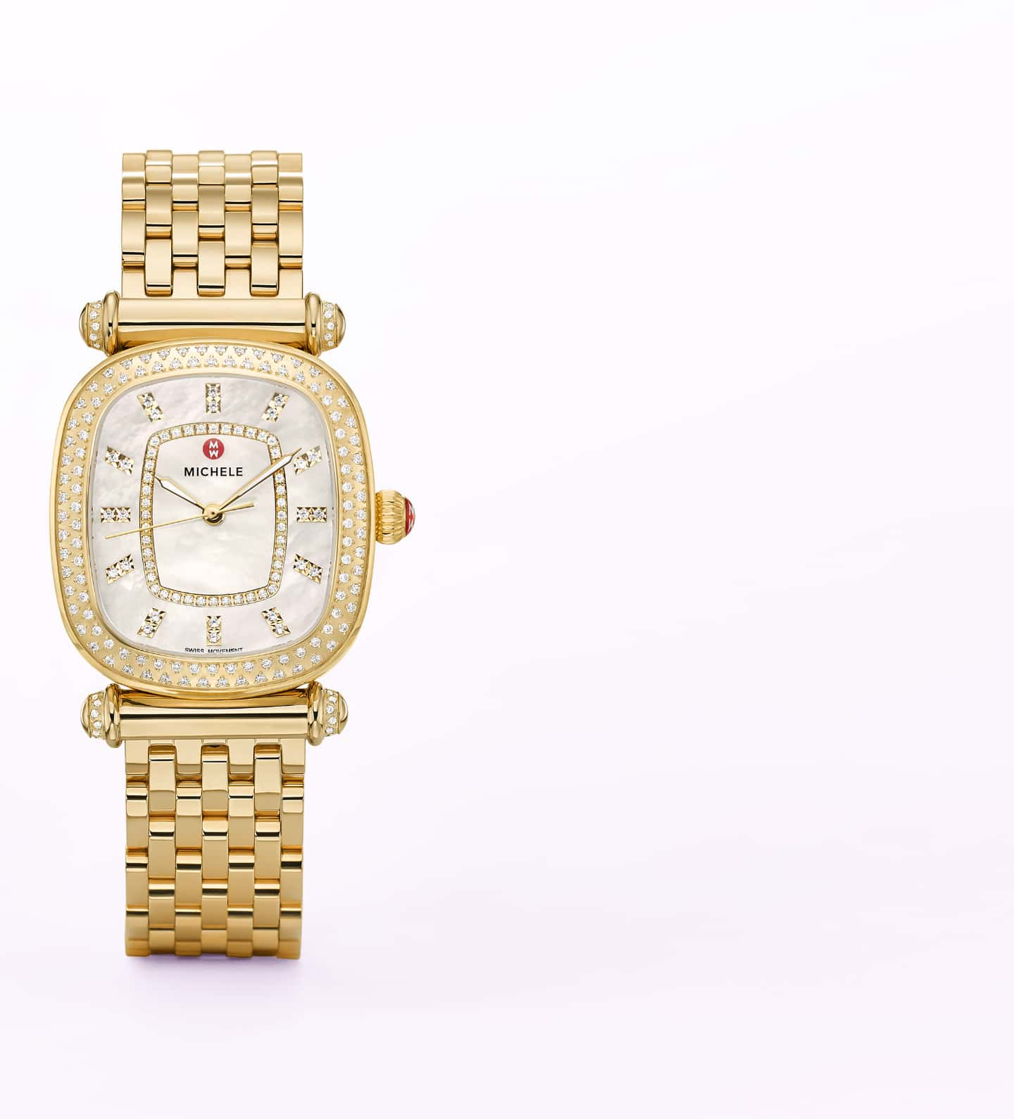 18K gold-tone Caber Isle watch featuring cushion-shaped case, diamond-covered bezel and t-bar lugs.