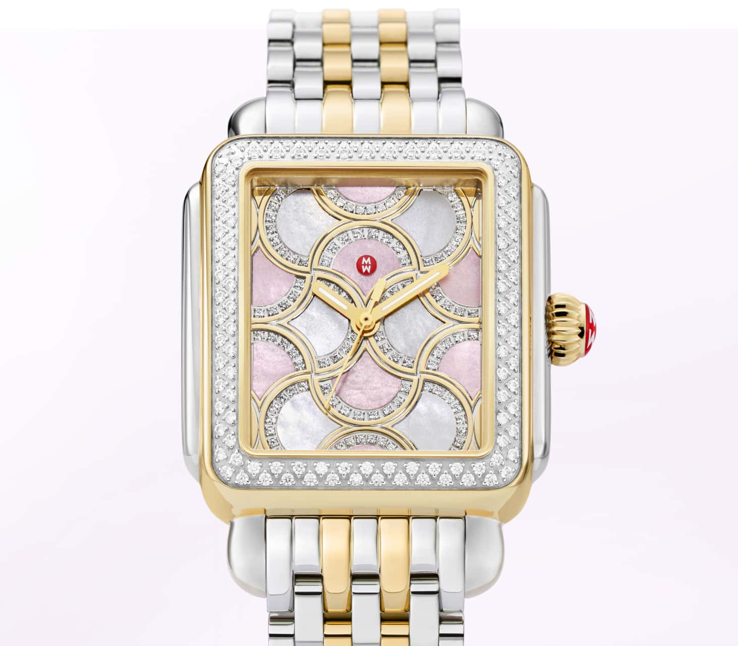 Limited-edition Deco Bella watch featuring lilac and rose mosiac dial.
