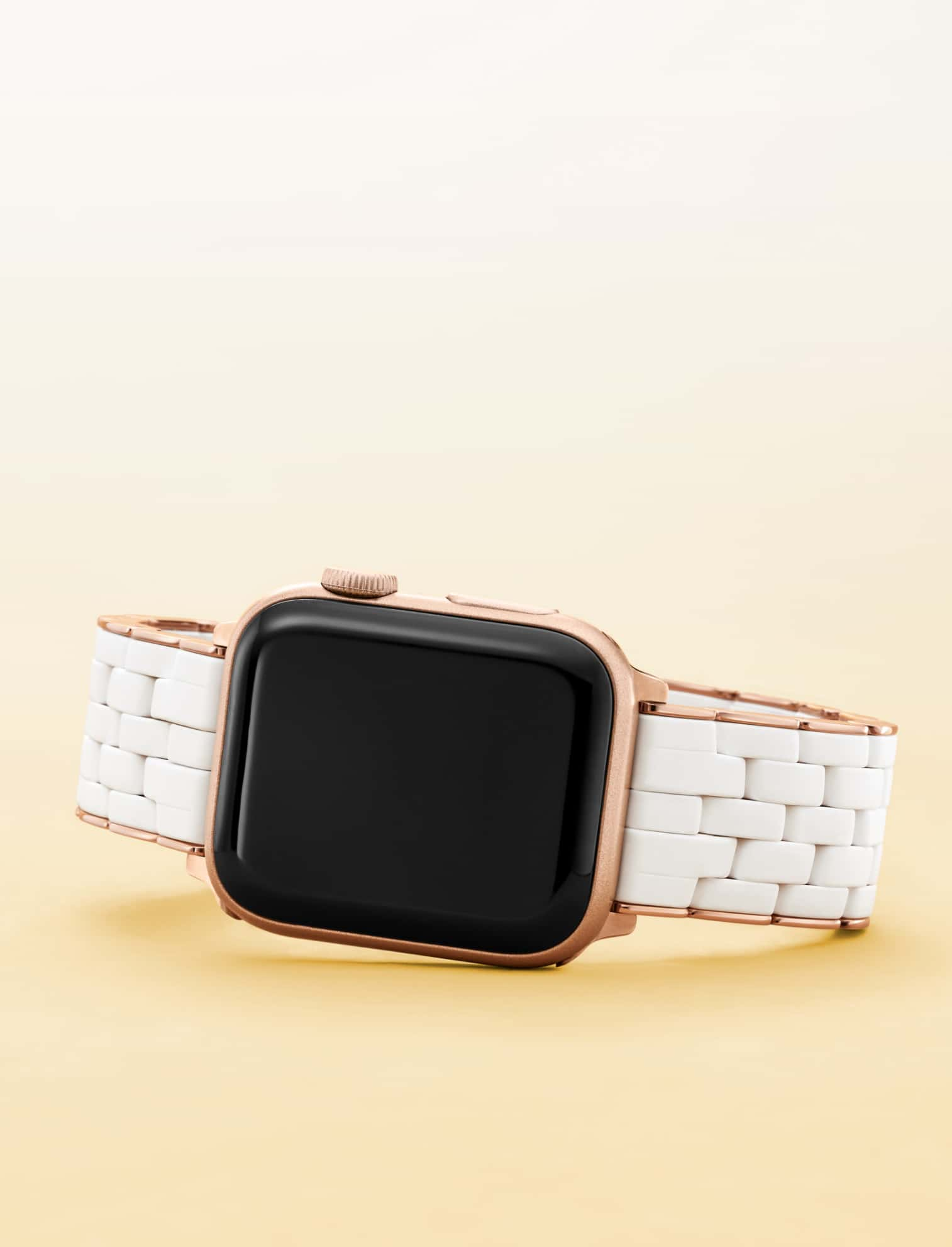 Pink gold and white five-link silicone band for Apple Watch®