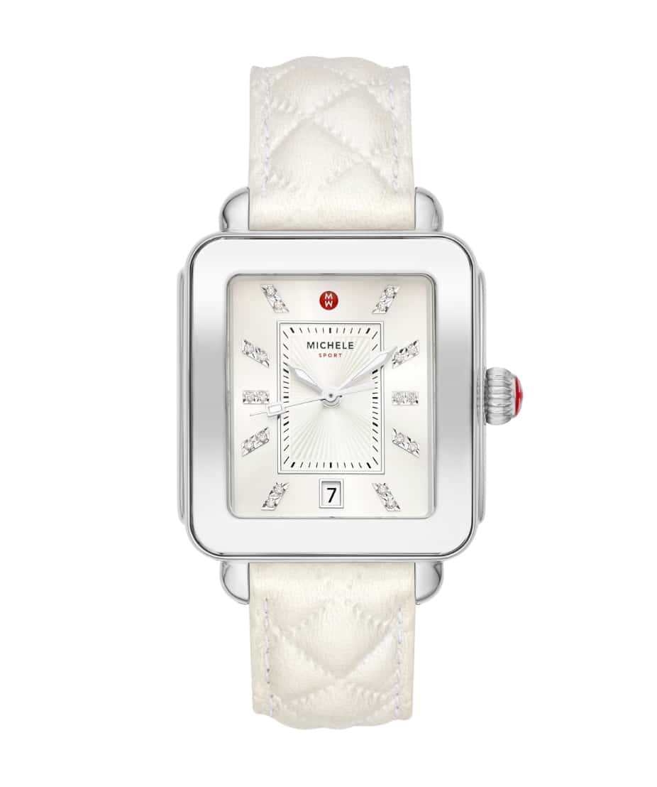 Deco Sport countryside collection watch featuring sheen-finished quilted leather strap in pearl.