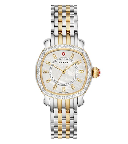 Special-edition Lilou watch featuring a barrel-shaped case, diamond indexes, topring and innerring and two-tone stainless and 18K gold seven-link bracelet.