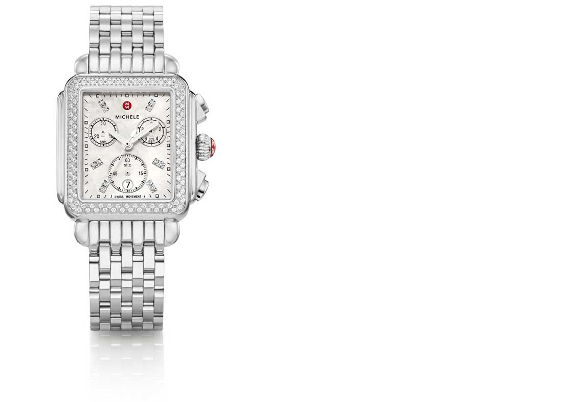 Iconic Deco watch in stainless featuring mother-of-pearl dial, diamond-covered bezel and signature seven-link bracelet.
